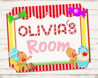 Candy Land Themed Childrenu0027s Bedroom Door Sign   Candy / Sweet Shoppe    Childrenu0027s Room Decor   Personalized, Printable Designs