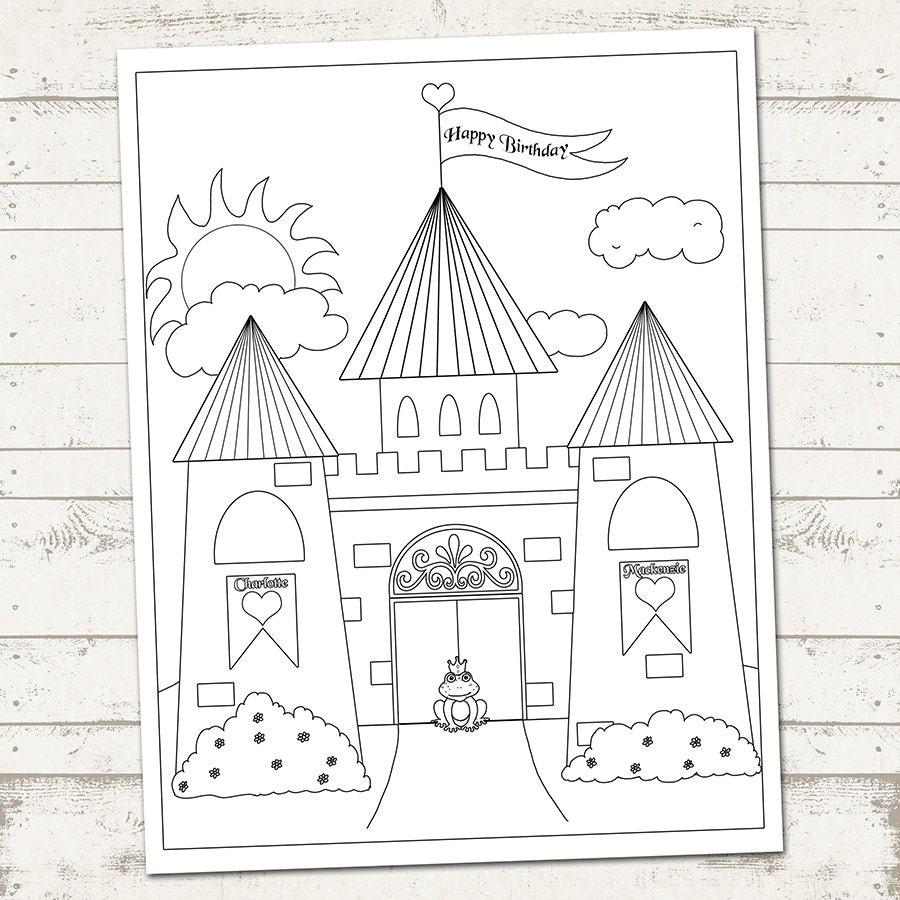 Castillo de fiesta Princess página para colorear feliz   Etsy