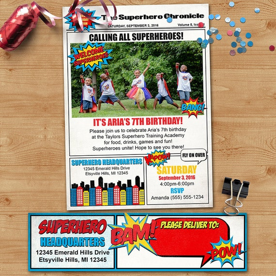 Newspaper Superhero Birthday Invitation W Wrap Around Address Labels