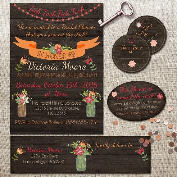 b5717f7d75a5 Rustic Around the Clock Bridal Shower Invitation - Address Labels ...