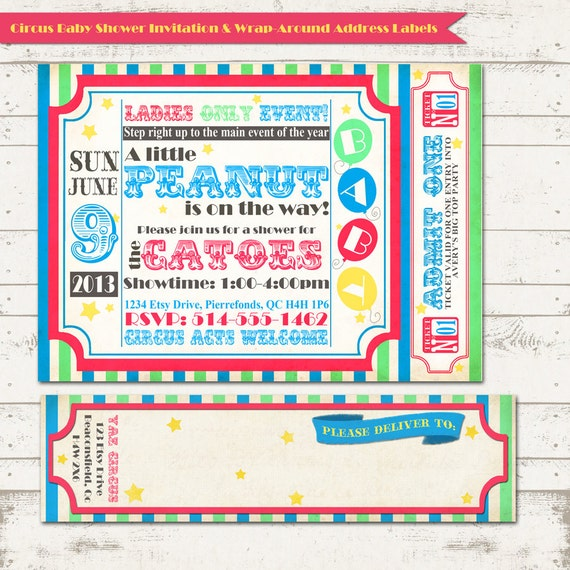 circus baby shower invitation with wrap around address labels