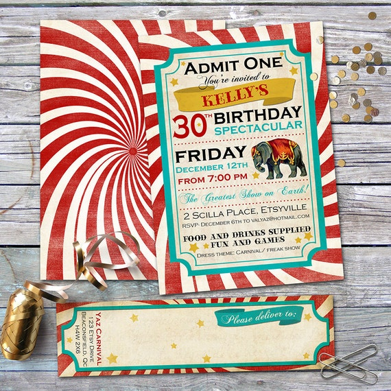 Carnival Birthday Invitation And Address Labels