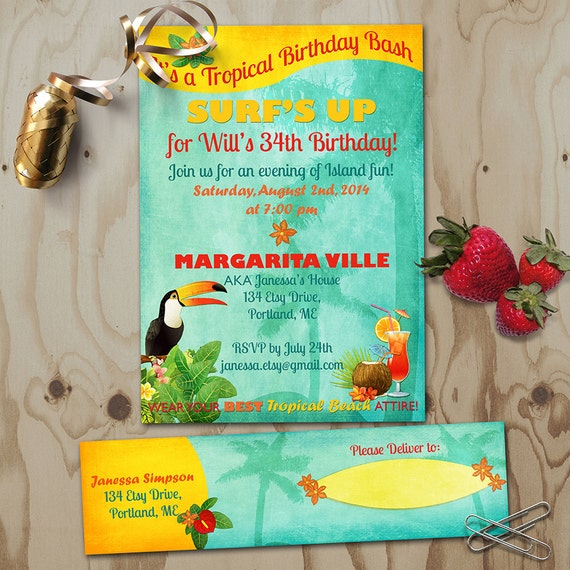 tropical birthday invitation with address labels retro beach