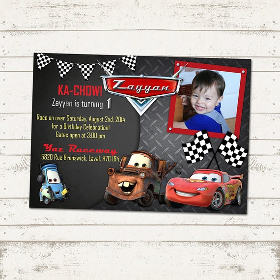 Cars Birthday Party Invitation Chalkboard Metal Checkered Flags Lightning Mcqueen Invites Printable