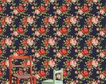 Midnight in the Garden Navy Floral Wallpaper