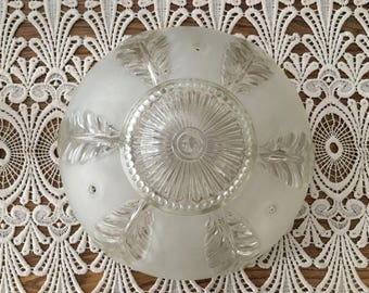 Vintage Glass Ceiling Light Shade, Frosted White Glass - 3 Chain Shade - Vintage Lighting - Glass Shade