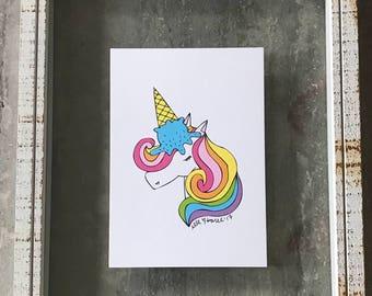 Ice Cream Unicorn - Elle Karel Illustration