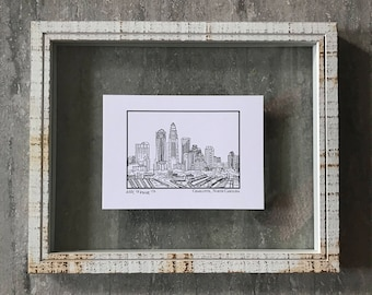 Charlotte North Carolina Skyline - Elle Karel Illustration