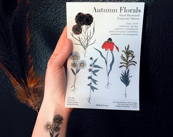 Language of Flowers Autumn Floral Temporary Tattoos