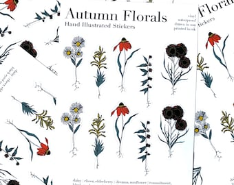 Language of Flowers Autumn Floral Vinyl Stickers