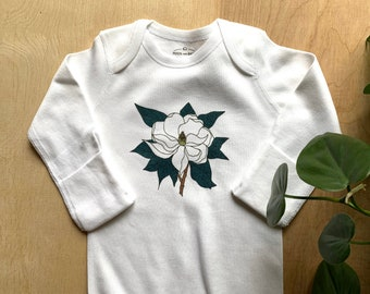 Illustrated Magnolia Flower Newborn Gown, Organic Cotton, Hand Pressed