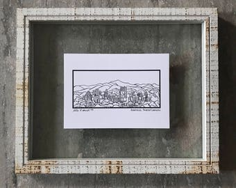 Asheville North Carolina Skyline - Elle Karel Illustration