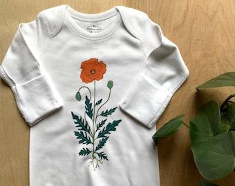 Illustrated Poppy Flower Newborn Gown, Organic Cotton, Hand Pressed