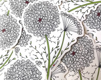Queen Anne's Lace Flower Vinyl Stickers