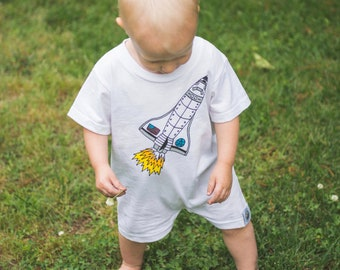 Space Shuttle Romper - Moon Moppets Kids Apparel Collection by Elle Karel
