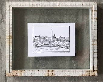 Washington District of Columbia Skyline - Elle Karel Illustration