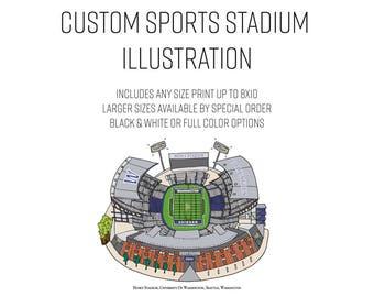 Custom Sports Stadium Illustration - Elle Karel, illustration, football field, art, man cave, sports room, office, baseball, basketball, fan