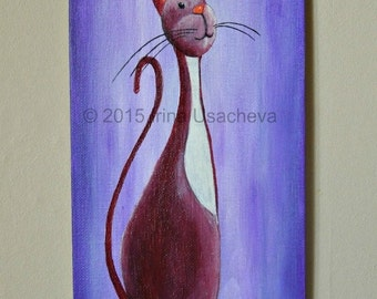 "Original Cat Painting for Sale ""Inquisitive Cat"", acrylic"