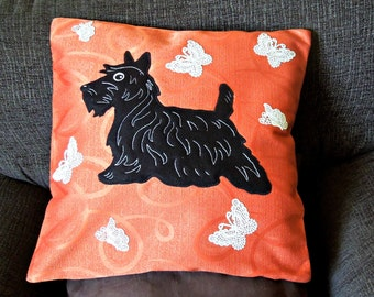 """Dog pillow, cushion cover, handmade, applique """"Scottie with White Butterflies"""", Scottish Terrier"""