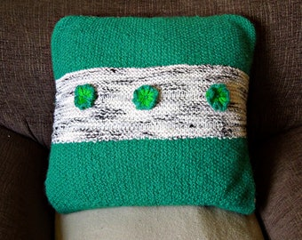 Knitted pillow, cushion cover, handmade, green, grey
