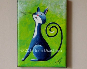 """Original Painting for Sale : Fantasy Cat  """"Inquisitive Cat in Deep-Blue"""" , acrylic"""