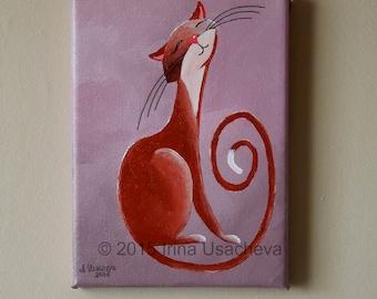 "Original Painting for Sale : Fantasy Cat  ""Musing Cat in Cinnamon"" , acrylic"