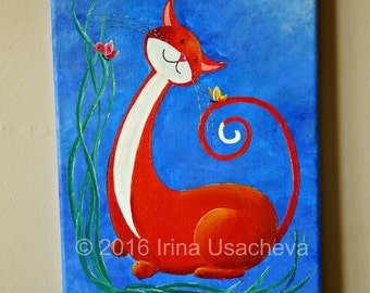 """Original Fantasy Cat Acrylic Painting for Sale """"Happy Cat in Orange with Butterflies"""""""