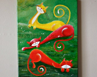 """Original Cat Painting for Sale : Fantasy Cats  """"Relaxing in the Meadows"""", acrylics on canvas"""