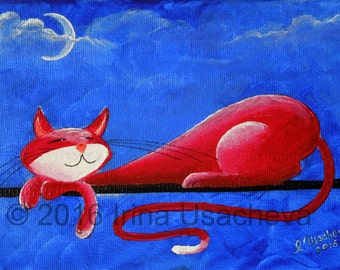"""Original Cat Painting for Sale : Fantasy Cats  """"Sleepy Cat in Red"""""""