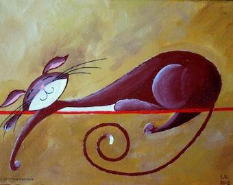 "Original Cat Acrylic Painting for Sale ""Serene Cat in Burgundy"""