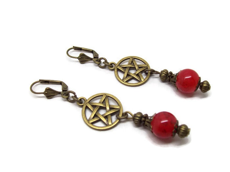 Bronze Earrings Pagan Gifts Pentacle Jewellery Pagan Jewelry Red Glass Bead Earrings Witch Earrings Pentacle Earrings