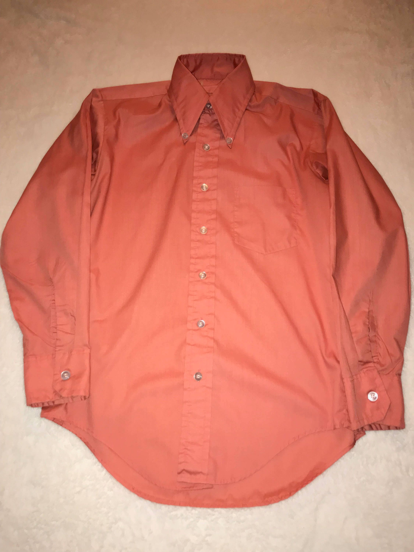 1960s Mod Button Down Collar Shirt Salmon Color Etsy