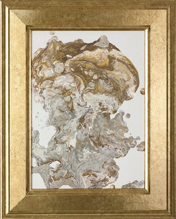 Earth Tone Wall Art Small Art Abstract Painting Gold Framed Art Gold And Gray Abstract Art Fluid Acrylic Pour Painting Original Art