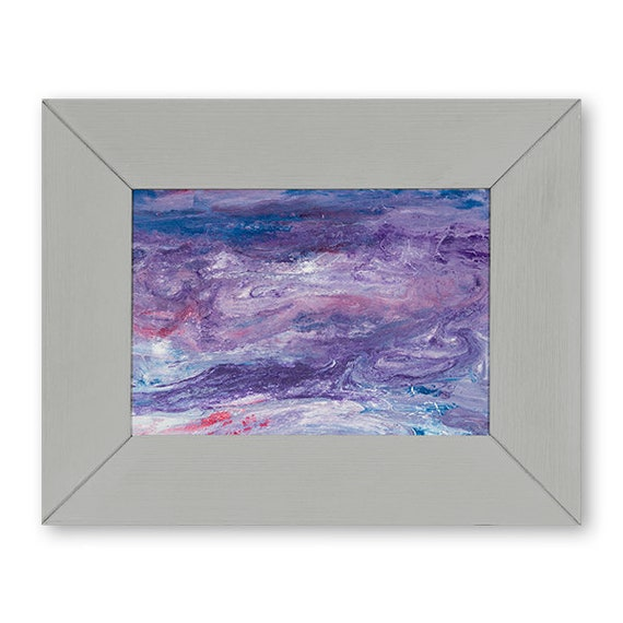 Lavender Abstract Pour Painting Small Framed Abstract Art | Etsy