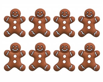 Novelty Gingerbread men man white shaped shank back buttons christmas 17 x 15mm