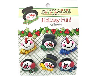 snowman medley christmas buttons galore winter holiday fun collection - Christmas Buttons
