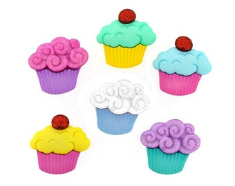 NEW SWEET TREATS CUPCAKES  NOVELTY DRESS IT UP BUTTONS SEWING CARDMAKING BUTTON