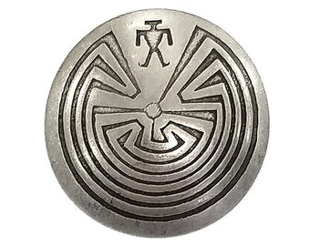 Sterling Concho round stamped Labyrinth Man in a Maze 20mm