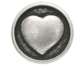 6 pcs. Small Heart 1 2 inch (13 mm) Metal Buttons Silver Color Metal Buttons from Italy