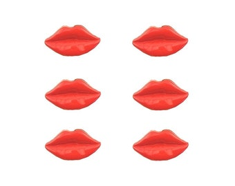 Red Lips 2 Novelty Buttons