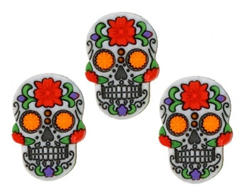 Pirate Punk Halloween Dress It Up Craft Buttons BRIGHT RED SKULL CROSSBONES