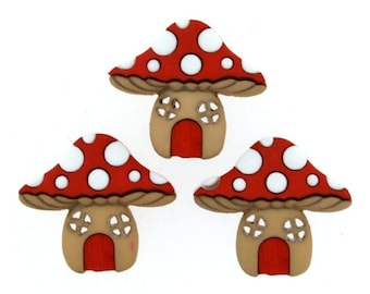 Mushroom Toadstool shape buttons Red with White shank size 20mm novelty