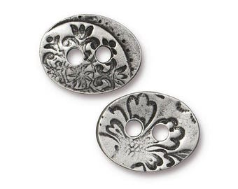 73304b283cf TierraCast Jardin 11 16 inch ( 18 mm ) Two-Hole Pewter Buttons Antique  Silver Color