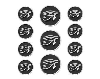 11 pc Eye of Horus Pewter Blazer Jacket Coat Button Set Silver / Black Color