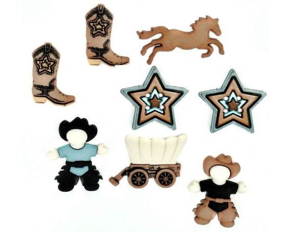 DRESS IT UP BUTTONS ~ HOWDY PARTNER ~ COWBOYS ~ WAGON ~ BOOTS ~ HORSE ~ BADGE
