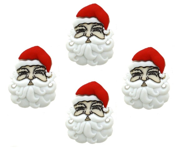 Father Christmas Head Shank Novelty Buttons