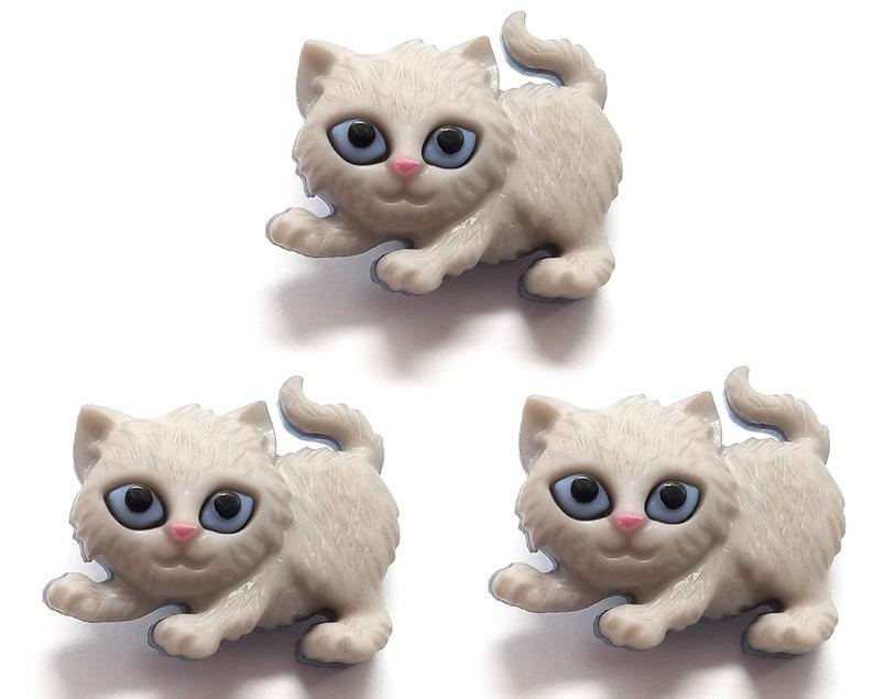 3 pcs Gray Kitty Buttons from the Jesse James Dress It Up Kitten Kaboodle Novelty Button Set