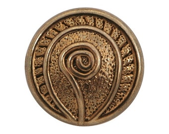 3 Fiddlehead Fern 7/8 inch ( 22 mm ) Metal Buttons Gold Color