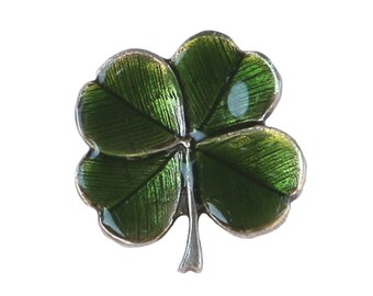 Four Leaf Clover Shamrock Metal Button 3/4 inch (20 mm) Antique Silver Color Shank Button by Danforth Pewter