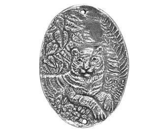 Green Girl Tiger 1.5 inch ( 40 mm ) Pewter Link Pendant Antique Silver Color